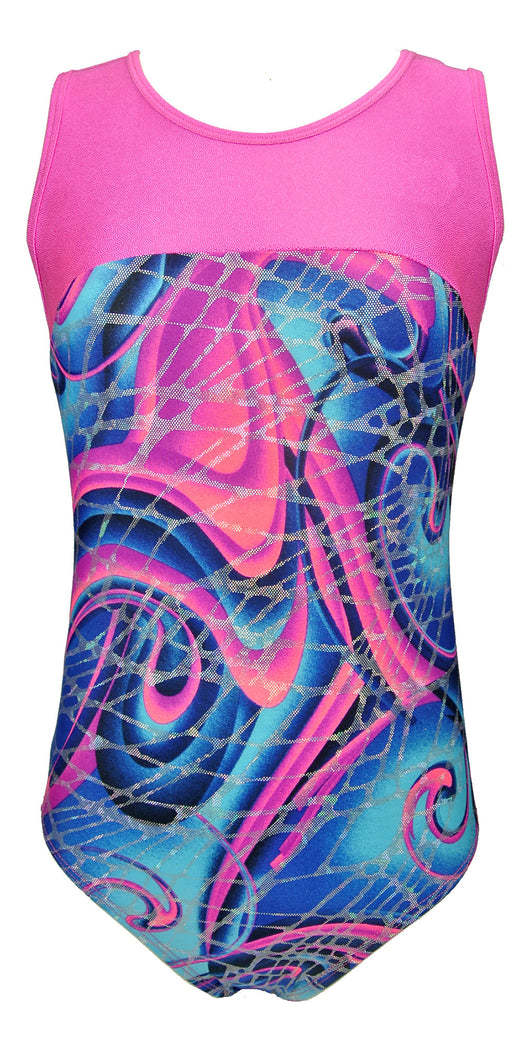 Abstract Swirl Keyhole Tank Leotard (Abstract Swirl, Youth 10-12) - Abstract Swirl,Youth 10-12