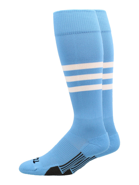 Dugout 3 Stripe Baseball Socks Pattern B (Columbia Blue/White, Large) - Columbia Blue/White,Large