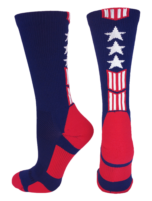 Patriot Stars and Stripes Team USA American Flag Crew Socks (Navy/Red/White, Large)