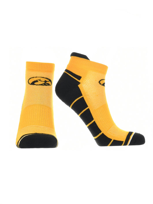 Iowa Hawkeyes Low Cut Ankle Socks Tab (Gold/Black, Large) - Gold/Black,Large
