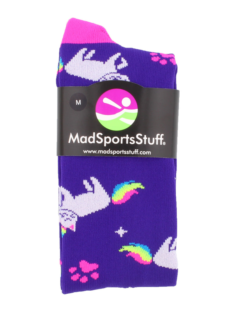 Half Cat Half Unicorn - Neon Rainbow Caticorn Athletic Over the Calf Socks