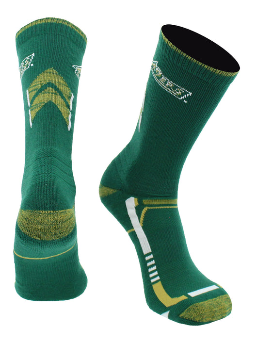UNC Charlotte 49ers Champion Crew Socks (Green/Gold, Large) - Green/Gold,Large