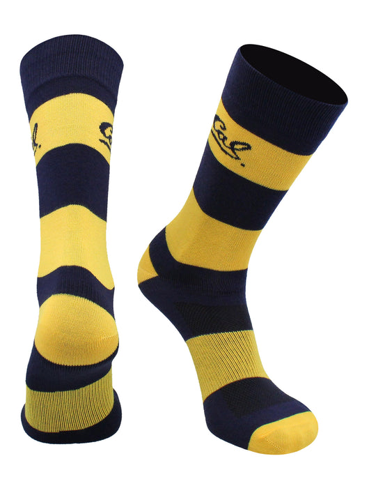 Cal Bears Game Day Striped Socks (Blue/Gold, Large) - Blue/Gold,Large