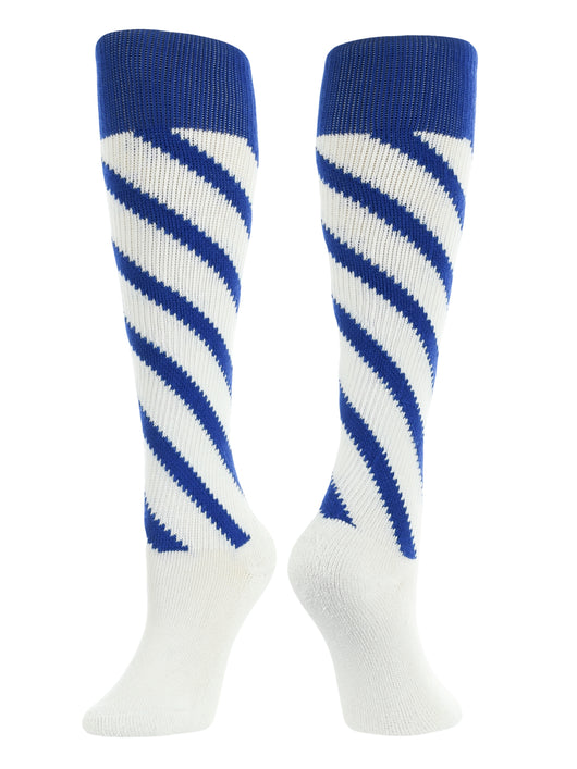 Candy Stripes Knee High softball Socks (White/Royal/Royal, Large) - White/Royal/Royal,Large