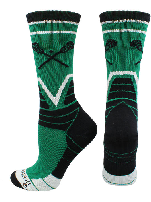 Lacrosse Victory Crew Socks (Kelly Green/Black/White, Large) - Kelly Green/Black/White,Large