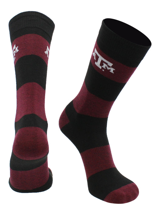 Texas A&M Aggies Game Day Striped Socks (Maroon/Black, Large) - Maroon/Black,Large