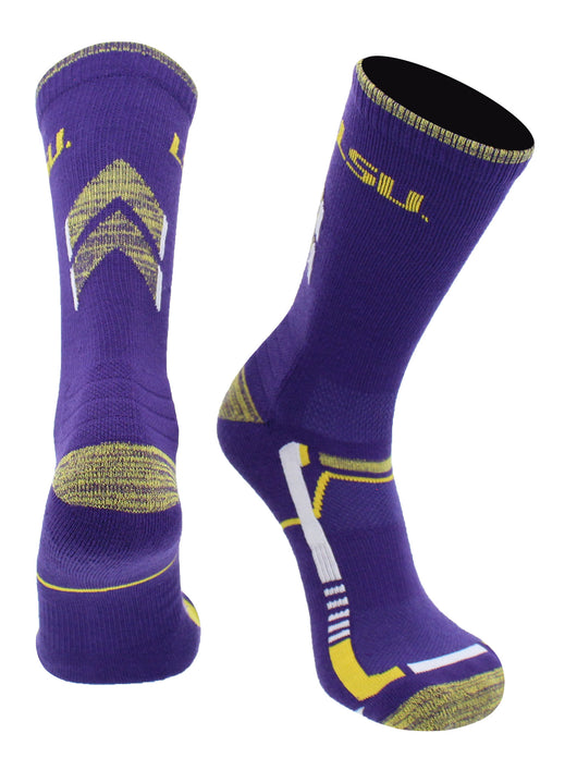 LSU Tigers Champion Crew Socks (Purple/Gold, Large) - Purple/Gold,Large