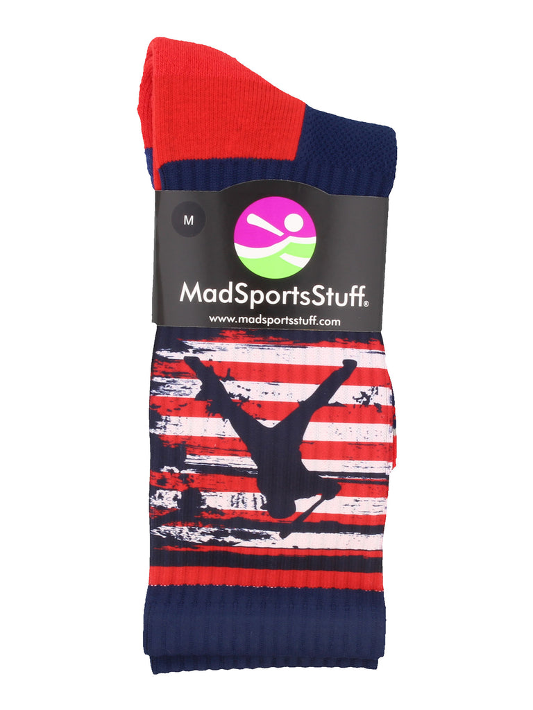 USA American Flag Baseball Player Athletic Crew Socks