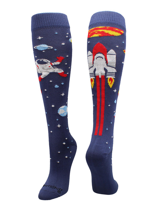 Astronaut Space Socks Over the Calf Length (Navy/Red/White, Large) - Navy/Red/White,Large