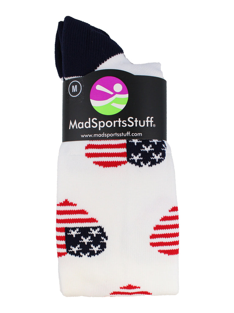 Love USA American Flag Heart Socks Over the Calf