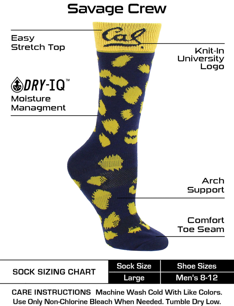 Cal Bears Socks Womens Savage Crew Socks Cal Berkeley