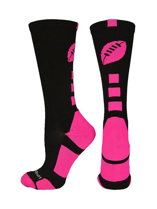 Football Logo Crew Socks (Black/Neon Pink, Large)