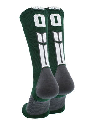 Dark Green/White Player Id Crew Number Socks (#00, Small) - #00,Small