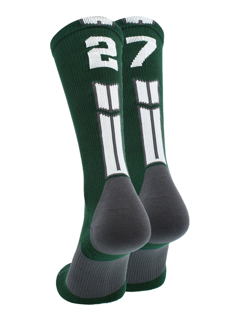 Dark Green Player ID Custom Number Crew Socks for Basketball Lacrosse Volleyball Boys and Girls