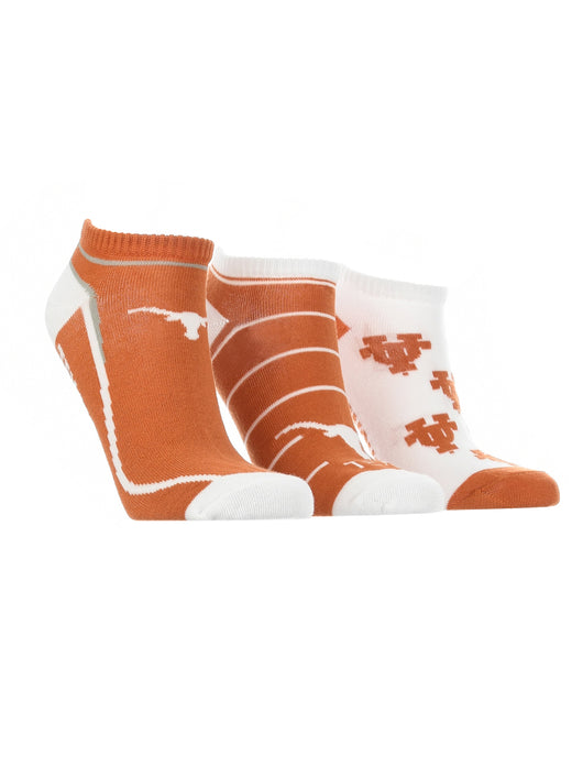 Texas Longhorns No Show Socks Full Field 3 Pack (Burnt Orange/White, Medium) - Burnt Orange/White,Medium