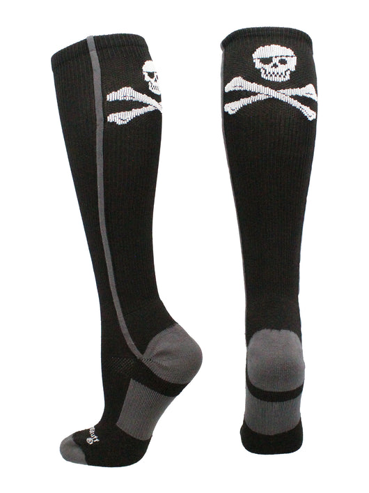 Pirate Skull and Crossbones Over the Calf Socks (Black/Graphite, Large)