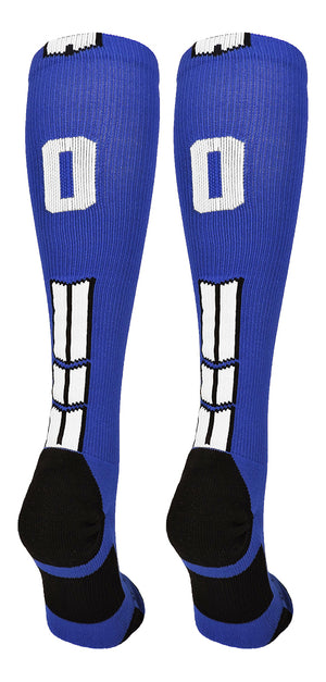 Royal/White Player Id Over the Calf Number Socks (#00, Small) - #00,Small
