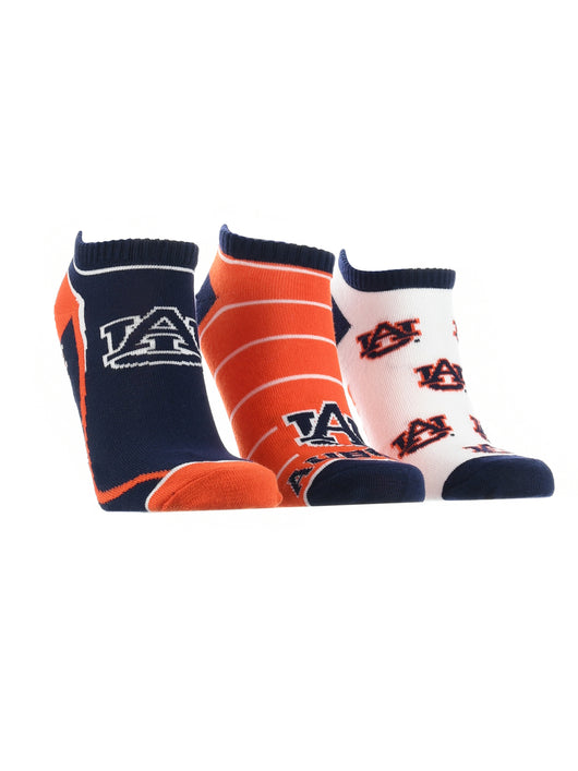 Auburn Tigers No Show Socks Full Field 3 Pack (Orange/Blue/White, Medium) - Orange/Blue/White,Medium