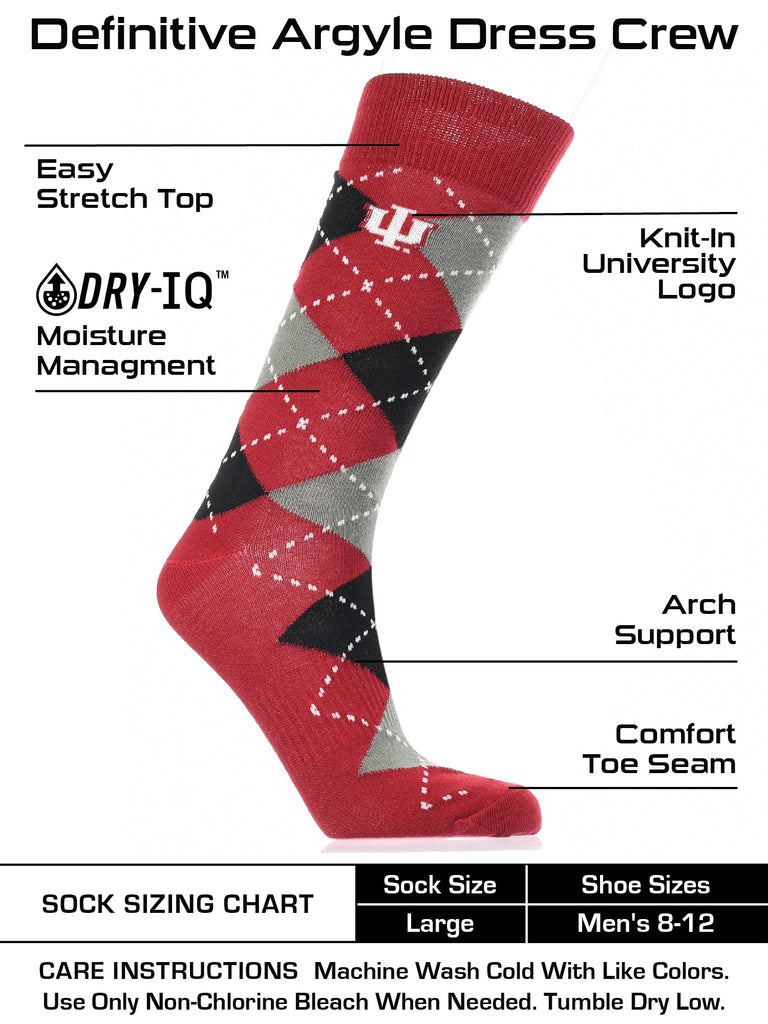 Indiana Hoosiers Argyle Dress Socks NCAA Fanwear Crew Length