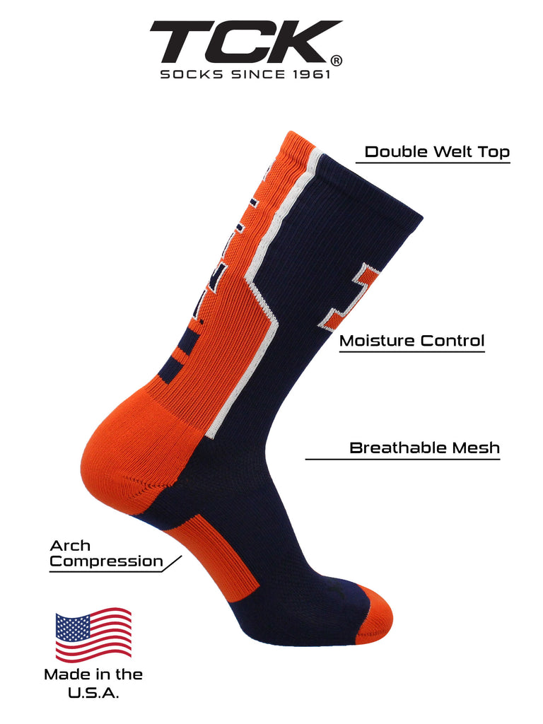 Illinois Fighting Illini Socks Perimeter Crew