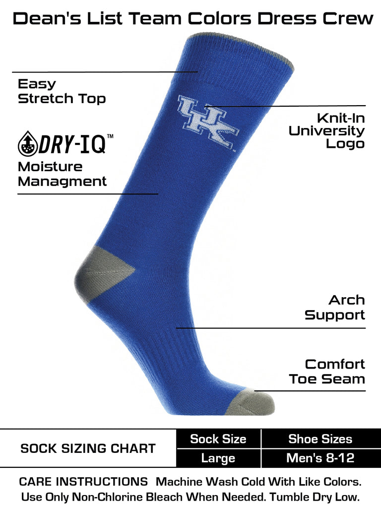Kentucky Wildcats Dress Socks Dean's List Crew Length Socks