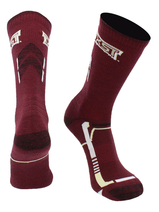 Texas State Bobcats Champion Crew Socks (Maroon/Black, Large)