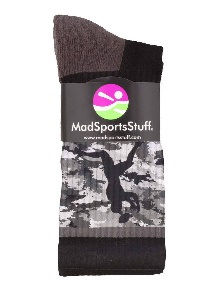 Football Socks with Player on Camo Athletic Crew Socks (multiple colors)
