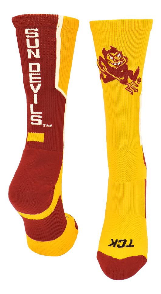Arizona State Perimeter Crew Socks (Gold/Maroon/White, Large) - Gold/Maroon/White,Large