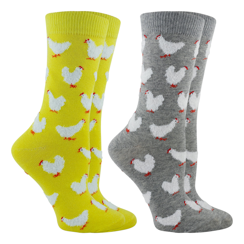 Chicken Socks 2-Pack Fuzzy Chickens (Yellow/Gray Heather, Medium)