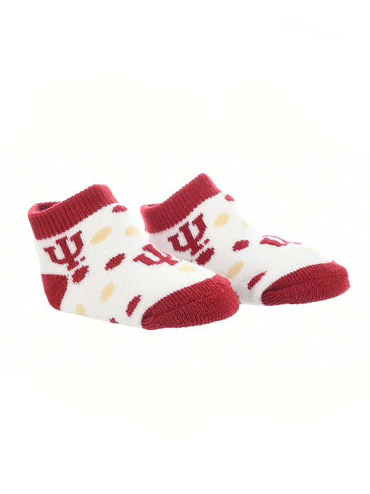 Indiana Hoosiers Toddler Socks Low Cut Little Fan (Crimson/Cream/White, 2T-4T) - Crimson/Cream/White,2T-4T