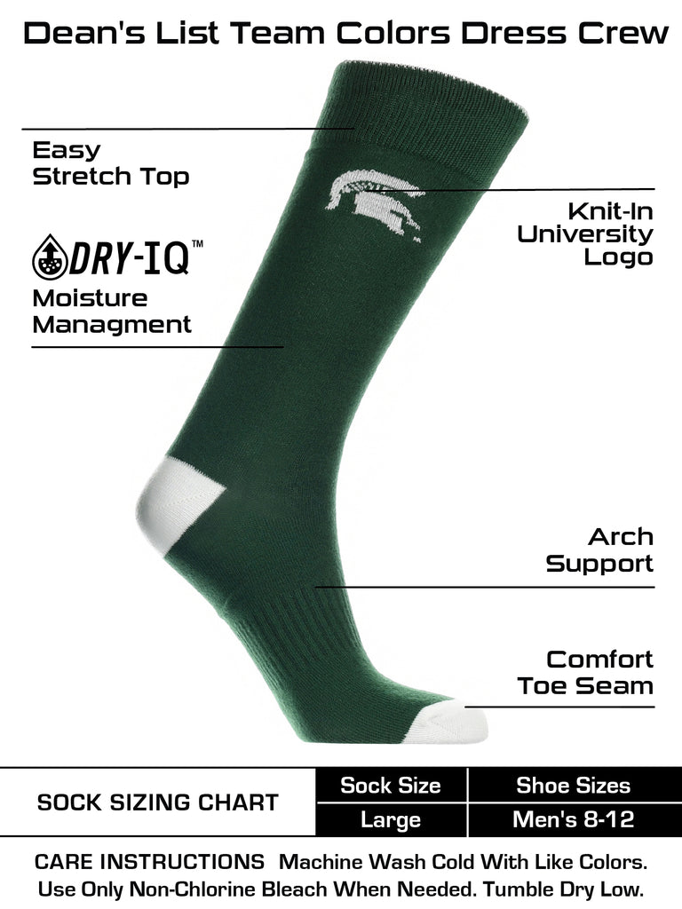 Michigan State Spartans Dress Socks Dean's List Crew Length Socks