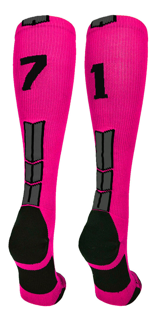 Neon Pink/Black Player Id Over the Calf Number Socks (#71, Small) - #71,Small