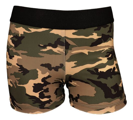 Womens 3 Inch Spandex Compression Shorts (Green Camo, Youth Small) - Green Camo,Youth Small