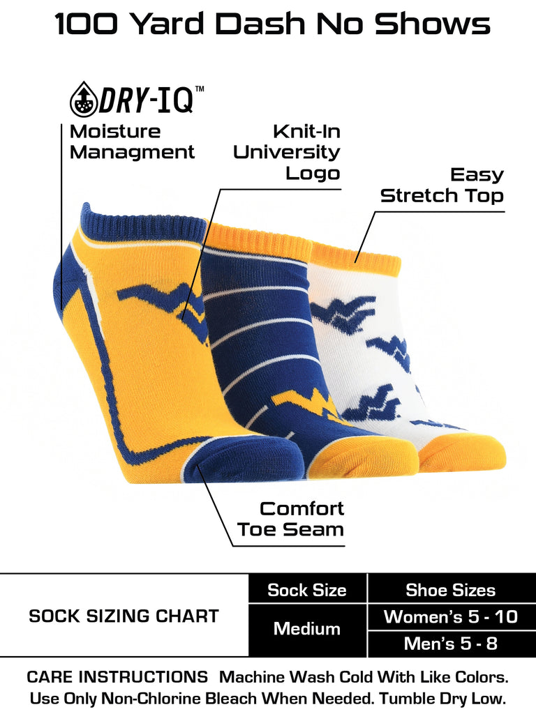 West Virginia Mountaineers No Show Socks Full Field 3 Pack