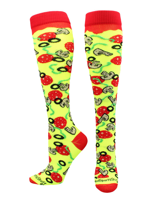 Pepperoni Pizza Over the Calf Socks (Neon Yellow/Red, Large)