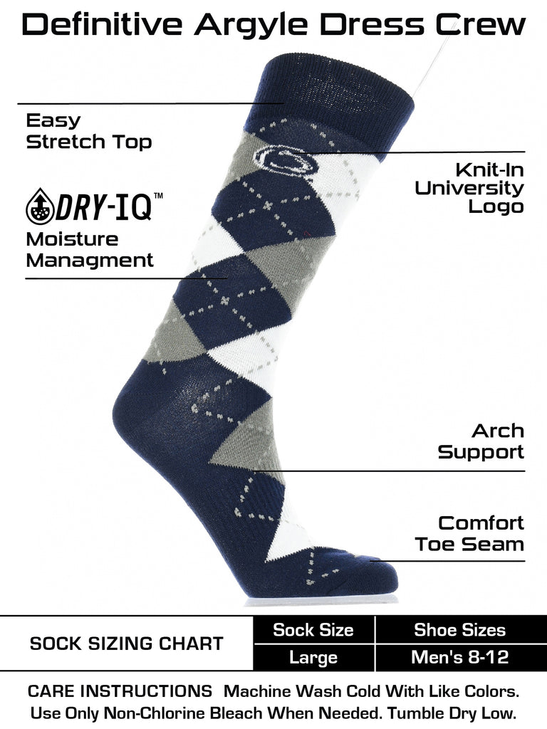 Penn State Nittany Lions Argyle Dress Socks NCAA Fanwear Crew Length
