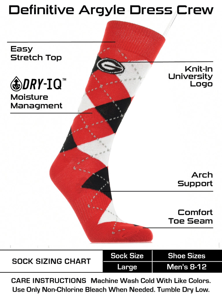 Georgia Bulldogs Argyle Dress Socks NCAA Fanwear Crew Length
