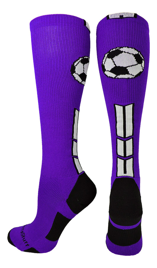 Soccer Socks with Soccer Ball Logo Over the Calf (Purple/Black/White, Large) - Purple/Black/White,Large