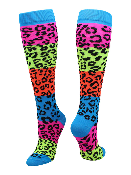 Neon Rainbow Fun Print OTC Socks (Leopard Print, Medium) - Leopard Print,Medium
