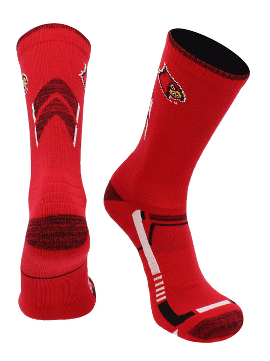 Louisville Cardinals Champion Crew Socks (Red/Black, Large)