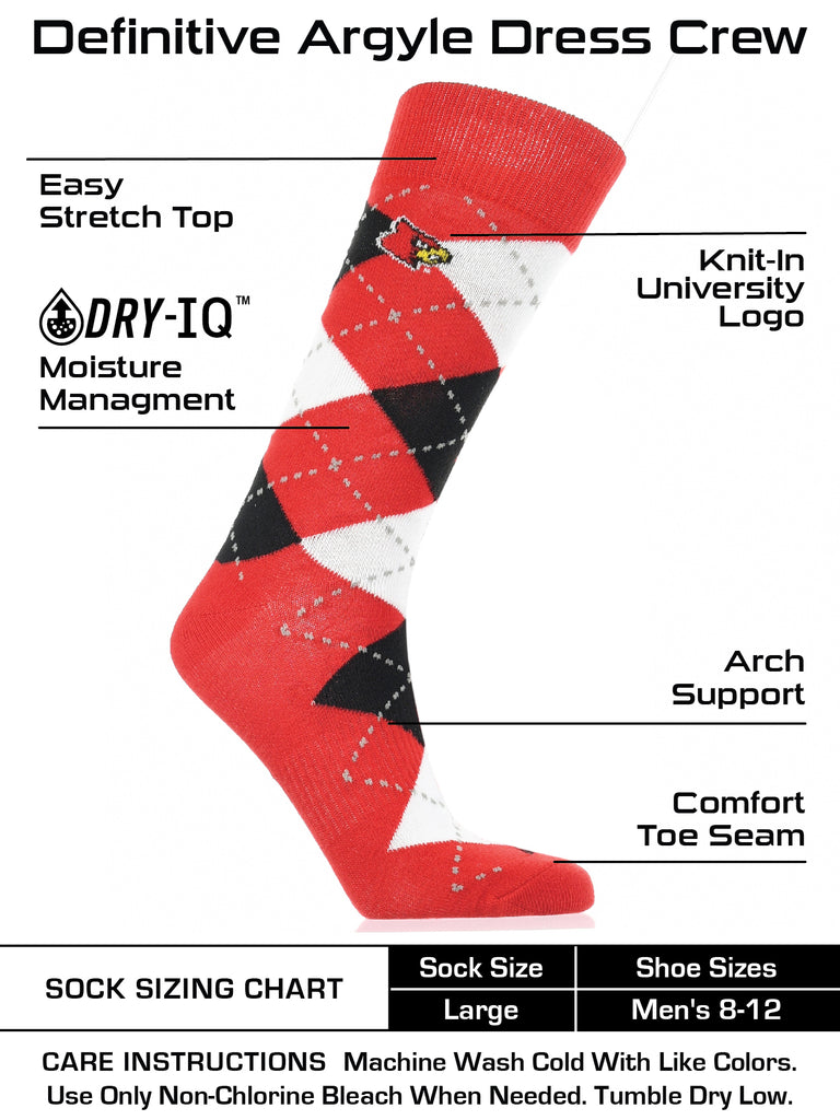 Louisville Cardinals Argyle Dress Socks NCAA Fanwear Crew Length