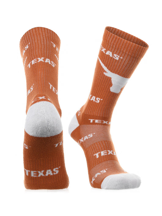Texas Longhorns Socks Sock Mayhem Crew (Burnt Orange/White, Large) - Burnt Orange/White,Large