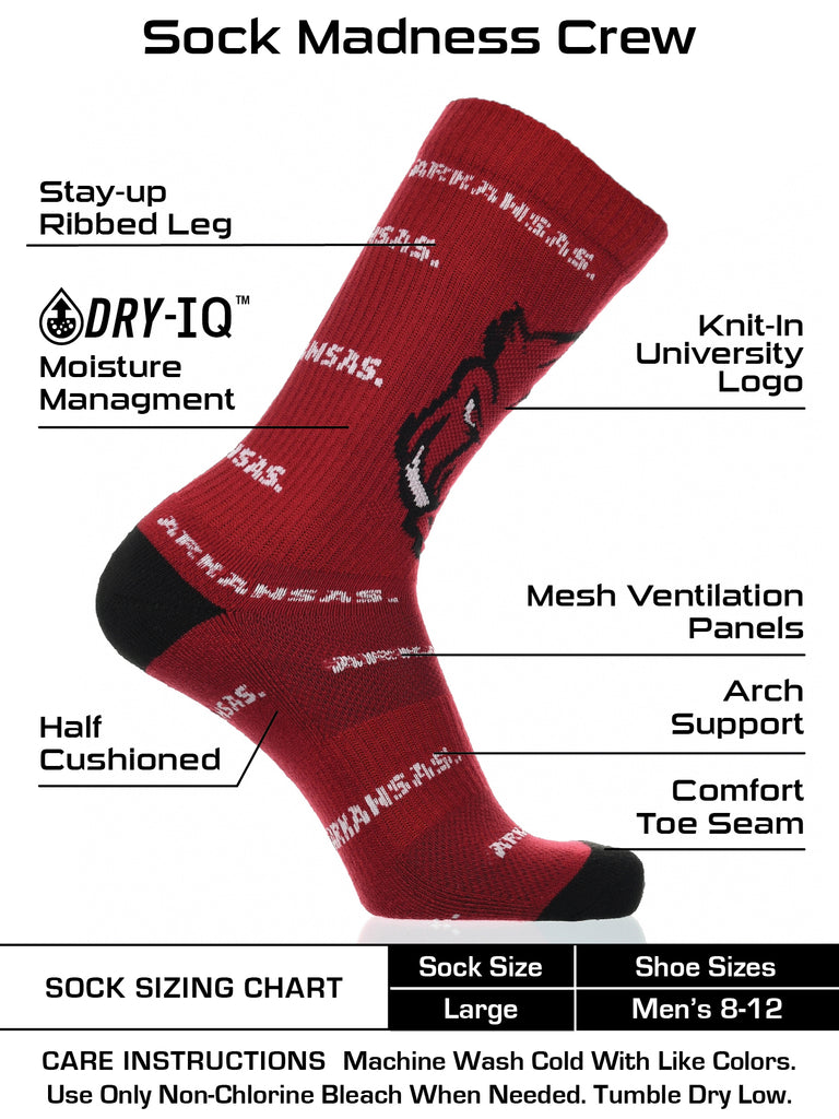 Arkansas Razorbacks Socks Crew Length Sock Mayhem