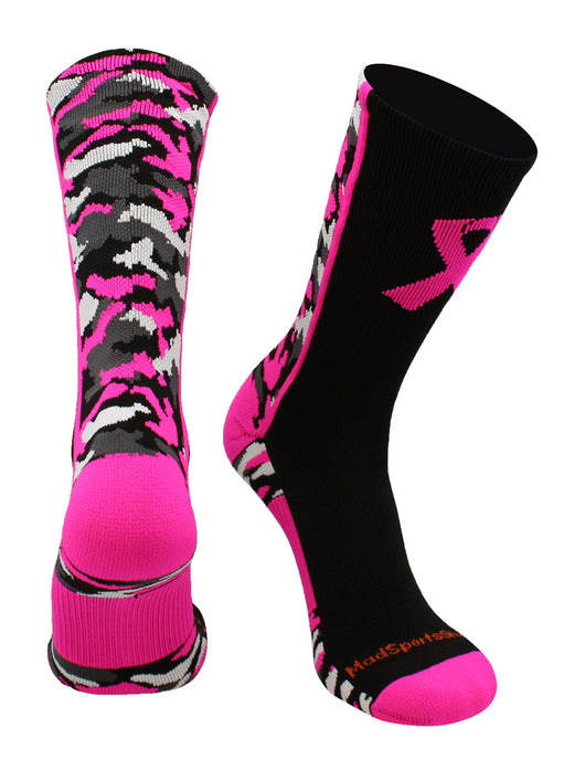 Pink Ribbon Awareness Camo Crew Socks (Black/Neon Pink, Large)