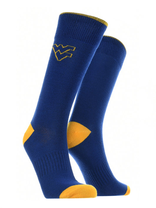 West Virginia Mountaineers Dress Socks Dean's List (Blue/Gold, Large) - Blue/Gold,Large