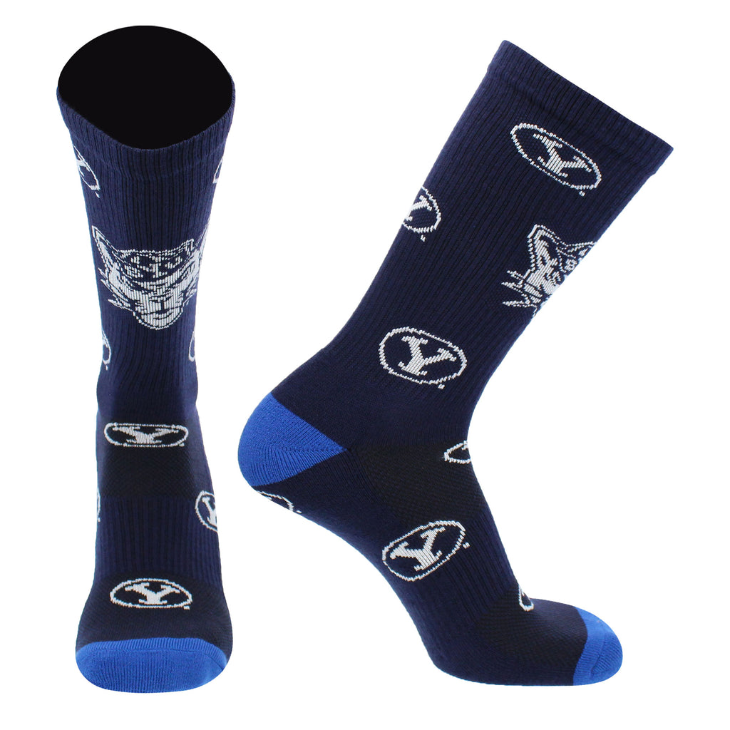 BYU Cougars Socks Birgham Young University Cougars Mayhem Crew Socks