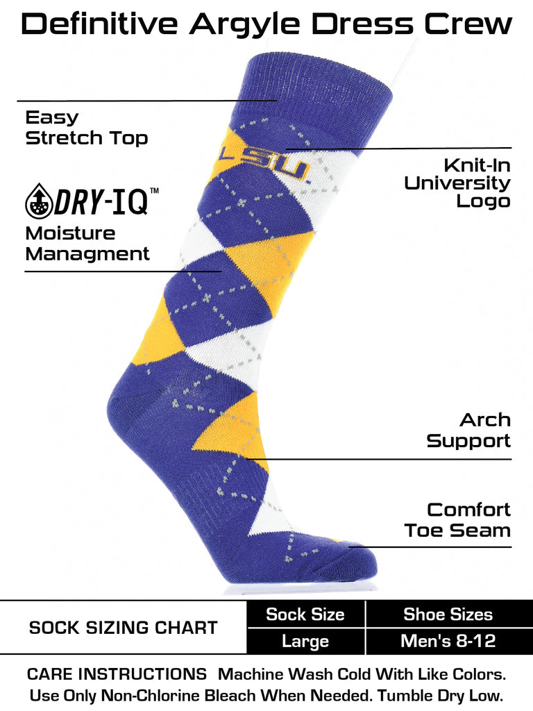 LSU Tigers Argyle Dress Socks NCAA Fanwear Crew Length