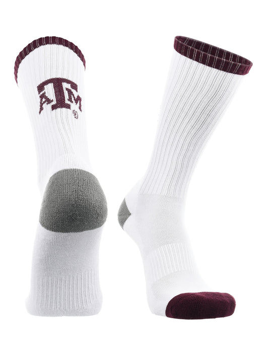Texas A&M Aggies Socks Basic Crew (White/Aggie Maroon/Grey, Large)