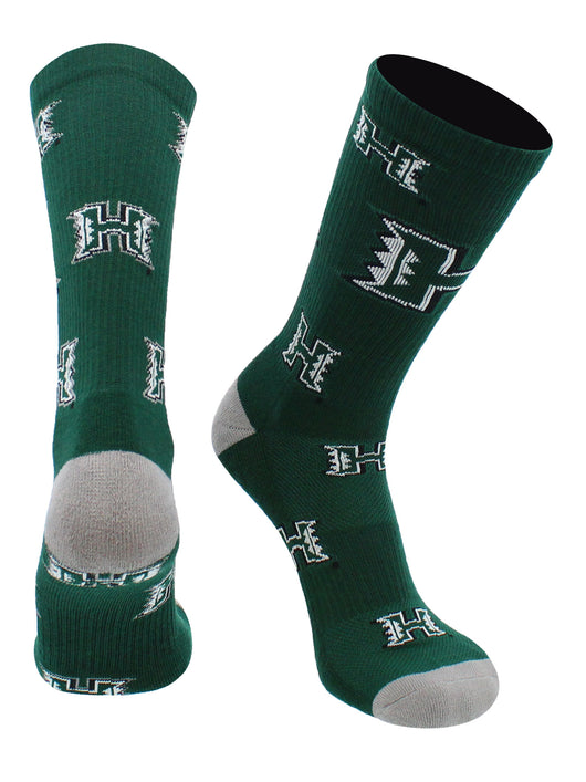 Hawaii Rainbow Warriors Socks Mayhem Crew Socks (Green/White, Large) - Green/White,Large