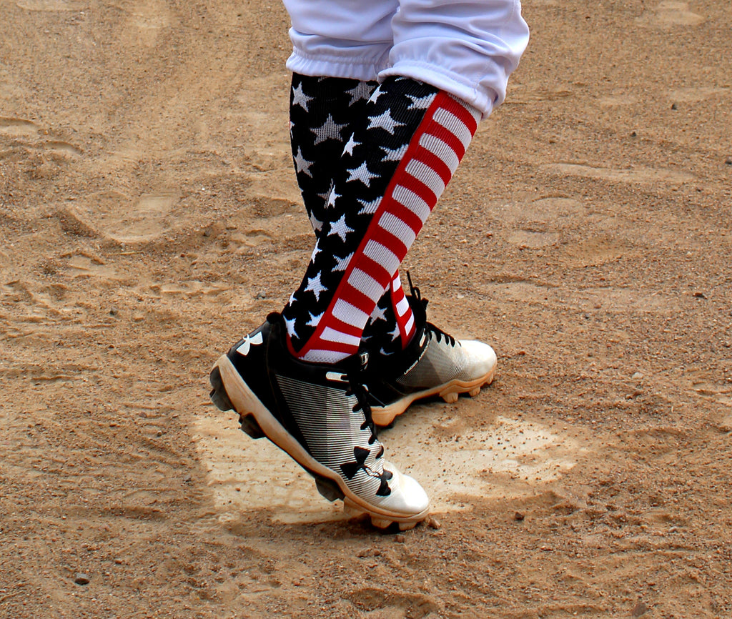 USA American Flag Stars and Stripes Over the Calf Socks